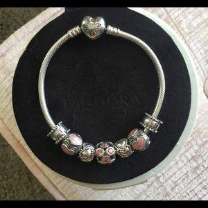 Pandora heart bracelet . 7.5, stamped, authentic!